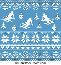 Winter knit pattern - man skiing - Seamless white background...