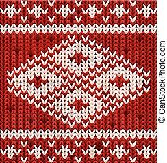 Winter knitted ornate, vector illustration