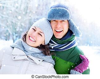 winter, koppeel vakantie, snow., plezier, outdoors., hebben, vrolijke