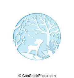 winter., kunst, hirsch, papier, wald, schnitzen