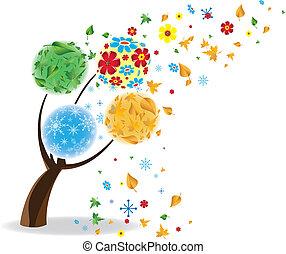 winter., kunst, lente, herfst, boompje, vier, seasons., zomer