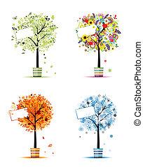 winter., kunst, lente, -, potten, bomen, vier, ontwerp, herfst, jaargetijden, jouw, zomer