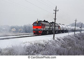 winter., lépés, fényes, kiképez, rakomány, narancs