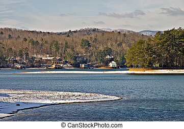 Winter Lake and Mountain Scene