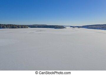 Winter lake drone photo