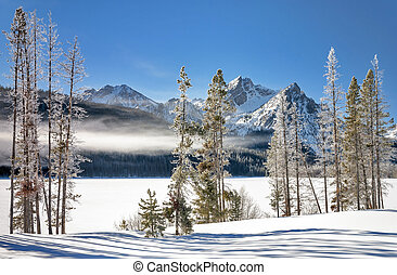 Winter Lake in Idaho covered with snow