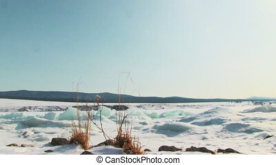 Winter lake landscape.
