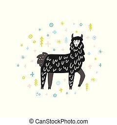 Winter Lama Illustration