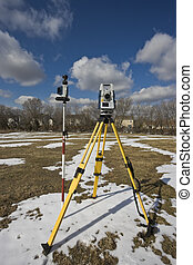 Winter land surveying - total station.