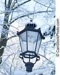 Winter landscape a snow laying on branches of trees and on a lantern.
