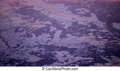 Winter landscape aerial view from top