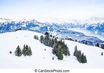 Winter landscape.  Alpine Alps mountain landscape