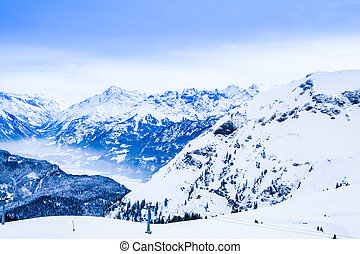 Winter landscape.  Alpine Alps mountain landscape