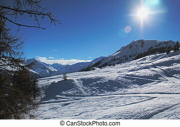 Winter landscape and Alps, Switzerland