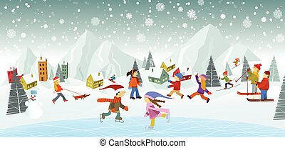 Winter landscape and winter activities - Vector illustration...