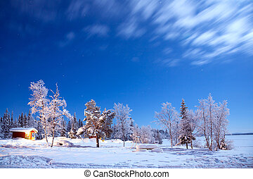 Winter landscape at Night - Winter landscape with cabin hut ...