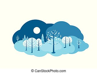 Winter landscape background. Horizontal cartoon flat land scene with dark sky, different trees, snow, spruce fir, clouds and moon. Round design concept isolated on white. Vector illustration