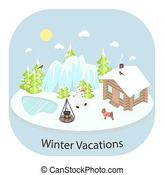 Winter landscape background with house