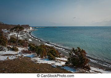 Utrish, winter landscape. View on the Black sea