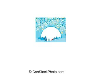 Winter landscape card with Santa