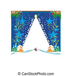 Winter landscape card with Santa