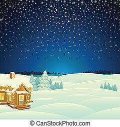 Winter Landscape. Cartoon Vector Illustration