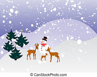 vector illustration of roe deers on a snowy winter landscape