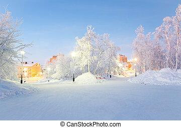 Winter landscape City Garden in Kiruna Sweden
