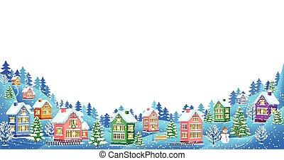 Winter landscape composition on white background