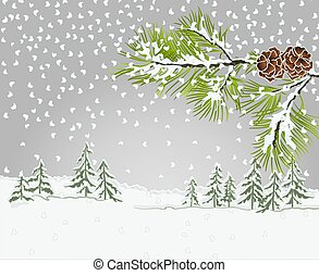 Winter landscape Conifer Pine branch with snow christmas theme vector