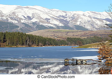 Winter landscape, Dushantsi Reservoir, Bulgaria scenery