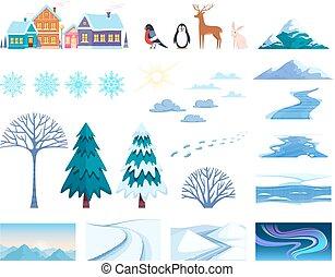 Winter Landscape Elements Set - Winter landscape elements...