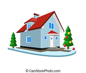 Winter landscape - Cottage and fir on a white background