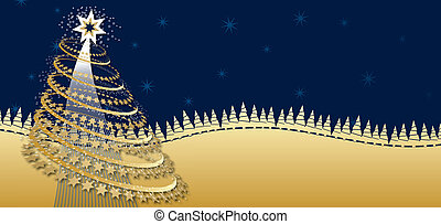 Winter landscape - Background for Christmas card