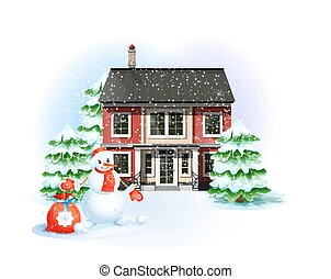 Winter landscape. Family house, snowman with Christmas gifts and trees. Christmas and New Year illustration.