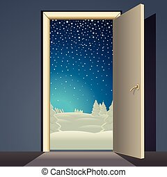 Winter Landscape from Open Door Vector