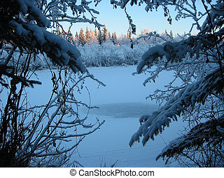 Winter Landscape - Frosen Chena river in Alaska