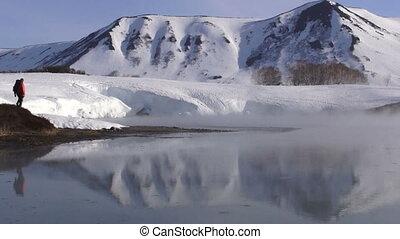 Winter landscape. Frosty weather, snowdrifts