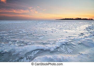 Ice on water surface.