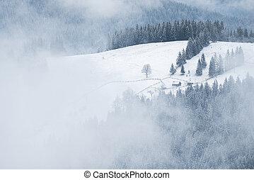 Winter landscape in a mountain village