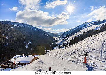 Winter landscape in Alps - Landscape photo of snowy...