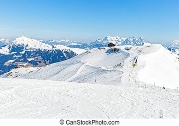 Winter landscape in Alps - Snowy winter landscape of a ski ...