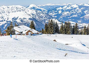 Winter landscape in Alps - Landscape photo of snowy...