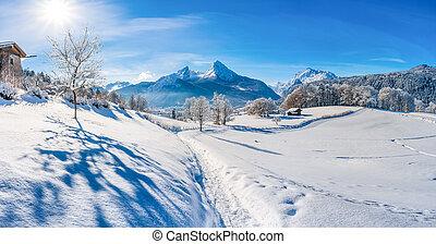 Winter landscape in Bavarian Alps