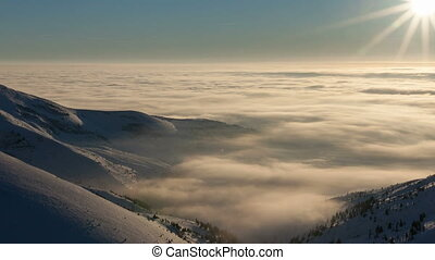 Winter landscape in Carpathian mountains. Beutiful sunset...