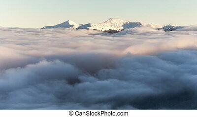 Winter landscape in Carpathian mountains. Beutiful sunset...