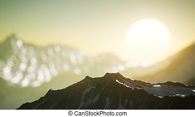 Winter Landscape in Mountains at Sunset