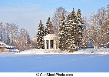 Winter landscape in park.