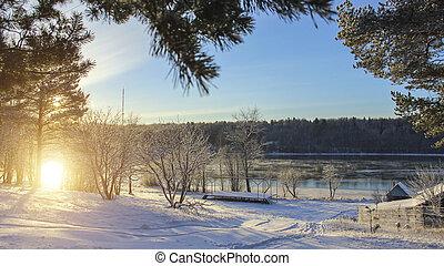 Winter landscape in Russian village