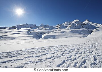 Pyrenees - Winter landscape in the Anéou, Ossau Valley, ...